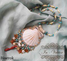 Sea Jewelry, Seashell Jewelry, Seashell Crafts, Jewelry Crafts, Beaded Jewelry, Handmade Jewelry, Jewelry Ideas, Bead Embroidery Jewelry, Beaded Embroidery
