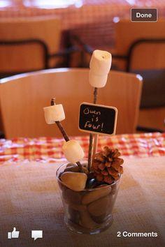 Rocks, pine cone, marshmallows on sticks