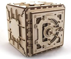 DIY Mechanical Safe with Fully Functional Lock Mechanism - Wooden Build Kit / Puzzle DIY Mechanic Iq Puzzle, Puzzle Box, Puzzles 3d, Wooden Puzzles, Steampunk Accessoires, Leelah, 3d Modelle, Camping Gifts, Assemblage