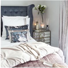 This is bliss... #bedroomdecor #homedecor #mirrorfurniture #bedlinen #kylieminoguebedding #headboards