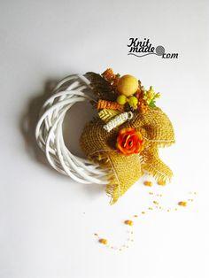 My florist work - Wattled from willow wreath with orange decor #knitmade #knitmadeflowers #knitmadenews #wreath #orange