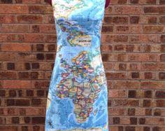 World map dress printed strapless cotton summer dress map of the world map dress printed strapless cotton summer by cruelcandy gumiabroncs Gallery