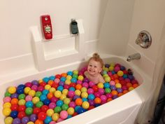 Great way to get a toddler in the bath tub!!