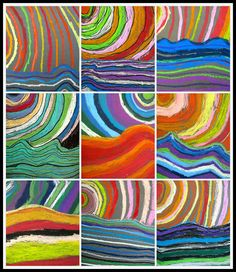 Sun with waves....simple rhythm lesson or warm/cool colored lesson! Oil Pastel, 6th Grade!