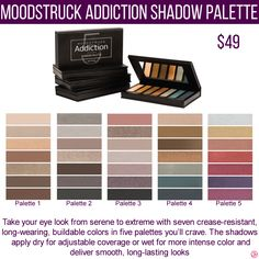 Younique Moodstruck Addition Shadow Palette Eyeshadow. To get specials, new product information and more join my VIP Facebook Group  https://www.facebook.com/groups/106517206410341/
