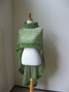 Green Bohemian Poncho Crochet Knit Green Shawl Turtleneck Boho Chic Hippie Feminine Capelet Chic Romantic Fall Fashion Ruffled Original