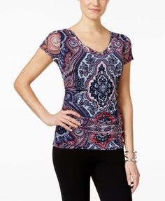 INC International Concepts Petite Printed V-Neck Top, Only at Macy's $29.99 A chic, colorful print adds dimension to your look with this petite top from INC International Concepts.