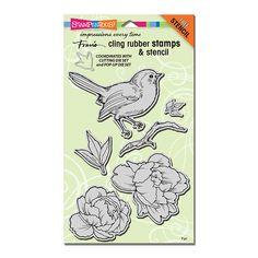 Cling Bird Blossom Rubber Stamp Set