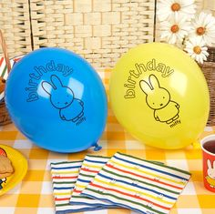 Colourful balloons from the Miffy Birthday range. Featuring Dick Bruna's world-famous bunny character, the balloons have a simple design in blue and yellow to add a real pop of colour to your celebration. Accompanied by 'Birthday' text in the classic Miffy typeface, the balloons help to create a fun and playful ambience for your little one's celebration.