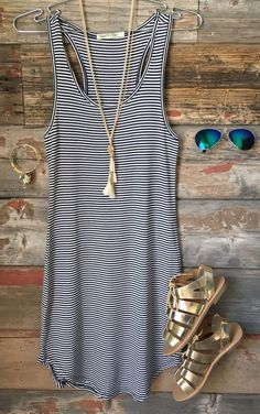 Let's Have Some Fun Striped Tank Dress: Navy