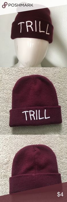 Trill Beanie with the word TRILL written on it Wet Seal Accessories Hats