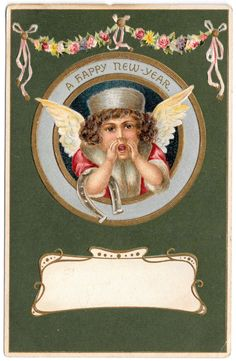 New Year Postcard Angel Shouting with Horseshoe and Flowers 104125 | eBay