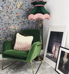 Green velvet lampshade with pink fringe for a standard lamp floor lamp ceiling Living Room Green, Bedroom Green, Green Rooms, Living Room Carpet, Living Room Sofa, Living Room Decor, Pink Green Bedrooms, Green Walls, Ceiling Pendant