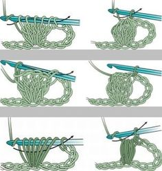 Bobble, popcorn, & puff stitches :: Bobbles (top) are partially finished DC with the final loop drawn through all. Popcorns (middle) are finished DC stitches where the hook is removed, then re-inserted with a loop to draw all the stitches up. Puffs (bottom) are a number of tall loops drawn up, then closed with one stitch. See Red Heart link for full instructions.