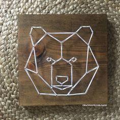 Items similar to Geometric string art on Etsy Hilograma Ideas, String Art Diy, Geometric Bear, Diy And Crafts, Arts And Crafts, Wood Nails, String Art Patterns, Nails For Kids, Welding Art