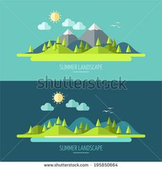 Flat design nature landscape illustration with sun, hills and clouds - stock vector