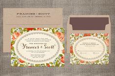 Real Wood Invitation Set - Birch Wood - Victorian Roses Wedding. $7.99, via Etsy.