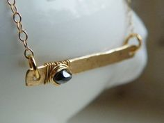 Black Diamond and 14k Gold Fill bar necklace at The North Way Studio.