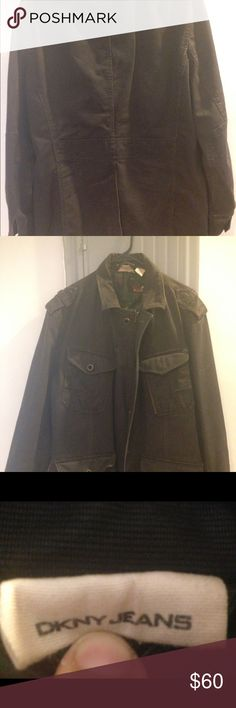 DKNY brown cotton l lined jacket comic book men DKNY brown cotton lined jacket comic book men's military, good conditions, missing few bottoms. DKNY Jackets & Coats Military & Field