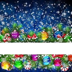 Free Vector illustration of Xmas balls with gift items and Tree fir with Snow flake pattern Blue background Bright Merry Christmas Greeting ...