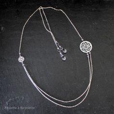 Collier et bijoux de dos / Headband (chaîne argent et nacre) Nacia 95€ http://paulette-a-bicyclette.com/boutique/collier-et-bijoux-de-dos-headband-chaine-argent-et-nacre-nacia/
