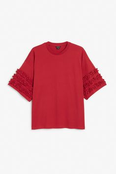 Monki Image 1 of T-shirt with ruffle detail in Red Dark