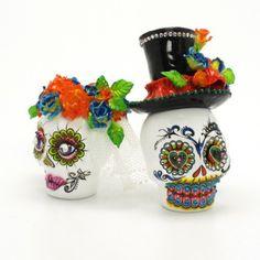 Sugar Skull cakes   Mexican Sugar Skull Day of Dead Wedding Cake Topper Handmade Keepsake ...