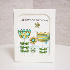 My favorite things stamp. Doodled blooms card kit of March.  Colorthrowdown challenge