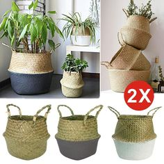 Made of wicker material, foldable strong and durable. Handle for you to remove the position easily. We will be very glad to reply you. Belly Basket, Potted Plants, Plant Pots, Storage Baskets, Wicker, Reusable Tote Bags, Room Decor, Nursery, Nature Nature