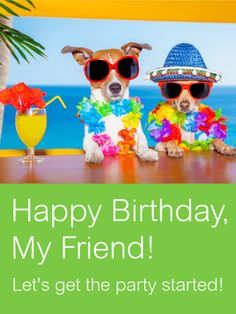Two Best Party Friends Card: No one throws a better birthday bash than your friends! Whether you're a fan of beach parties, fancy dinners, or a night of drinks and dancing, friends always know the best way to make you feel special. Get your friend's party started with this fun Happy Birthday card, which is sure to make them laugh! Use this card to send your love and birthday wishes today!