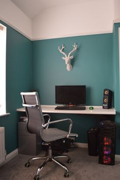 Home Office - Dulux Proud Peacock. Grey Carpet. Eames Office Chair. John Lewis stag head