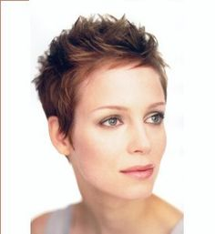 A short brown straight spikey mature Womens hairstyle by Select.astyle