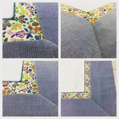 Still working on samples with contrasts and micro-piping in Liberty print brushed cotton with a mitred corner