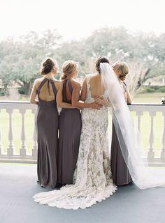 gray bridesmaids dresses   Photography: Virgil Bunao - virgilbunao.com  Read More: http://www.stylemepretty.com/2015/06/09/elegant-lowndes-grove-plantation-wedding-3/
