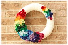 Rainbow Yarn Wreath - Ivory with Red Orange Yellow Green Blue Purple - 14 Inch - Ready to Ship on Etsy, $46.00