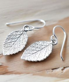 Look what I found on #zulily! Sterling Silver Mint Leaf Drop Earrings #zulilyfinds