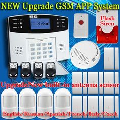Nuovo built-in antenna porta gap sensore pir motion detector wireless LCD scheda SIM GSM Casa sistema di Allarme di sicurezza Fumo Flash Siren