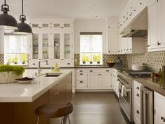 #Kitchen #Layout - full height cabinets and then uppers and lowers on either side of a window