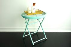 Vintage Blue Metal Side Table - Patio Furniture - Balcony Decor