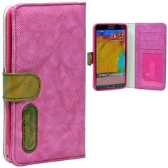 myLife Fluffy Pink {Lined Design} Faux Leather (Card, Cash and ID Holder + Magnetic Closing) Slim Wallet for Galaxy Note 3 Smartphone by Sam...