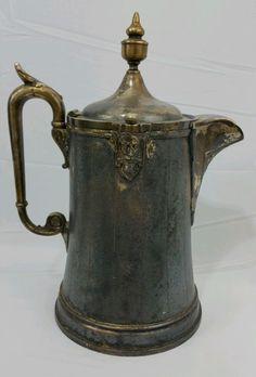 "REED BARTON Nordic Viking Antique Water Ice Pitcher Jug 13"" 7 Cup Ornate Rare #ReedBarton"