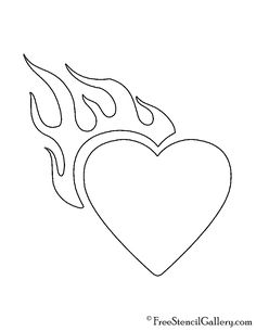 Heart with Flames Stencil Flame Tattoos, Word Tattoos, Mini Tattoos, Cute Tattoos, Pop Art Drawing, Drawing Base, Haut Tattoo, Emoji Tattoo, Small Words Tattoo