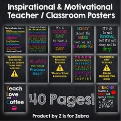 Classroom Motivational and Inspirational Posters - 40 pages! Classroom Motivational Posters, Inspirational Posters, Classroom Posters, Behaviour Management, Classroom Management, Classroom Rules, Classroom Decor, First Day Of School, Back To School