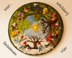 felted wool art depicting seasons (image only) Waldorf Crafts, Waldorf Dolls, Wooly Bully, Felt Pictures, Needle Felting Tutorials, Wool Art, Nature Table, Felt Hearts, Felt Diy