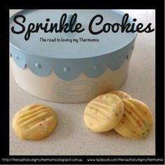 Sprinkle Cookies  250g butter, cubed 80g sugar 2 teaspoons vanilla essence/paste/powder 360g plain flour 2 tablespoons of 100s and 1000s