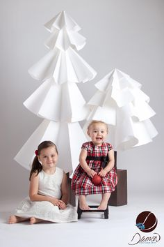 Large Paper White Christmas-Winter trees for the Holiday Mini-Session. Fun to  make, even better to photograph all the sweet faces with!!!
