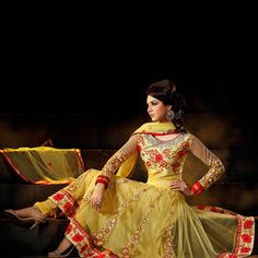 Yellow Net Anarkali Churidar Kameez