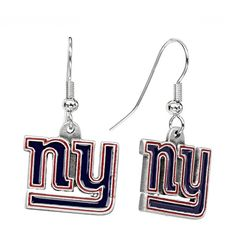 New York Giants Silver Tone Logo Linear Drop Earrings ($9.80) ❤ liked on Polyvore featuring jewelry, earrings, multicolor, colorful earrings, multicolor jewelry, logo earrings, tri color earrings and silvertone jewelry