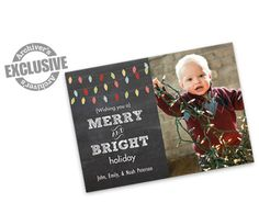 Merry and Bright Chalkboard 5x7 Christmas Photo Card