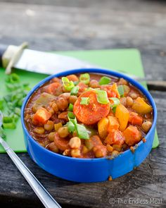 Chickpea and Yam Chili. Gluten and Dairy Free. Only use half (or less) the amount of chili powder.
